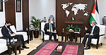 Palestinian Prime Minister Mohammed Ishtayeh meets with the new Brazilian ambassador to the State of Palestine, Alessandro Warly Candias, in the West Bank city of Ramallah, on April 6, 2021. Photo by Prime Minister Office
