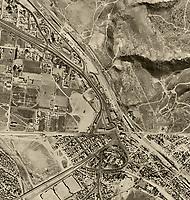 historical aerial photograph Mexican American border at Tijuana, Mexico and San Ysidro, California, 1962 | fotografía aérea histórica de la frontera México-Americana 1966