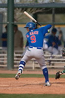 Chicago Cubs catcher Miguel Amaya (9) at bat during a Minor League Spring Training game against the Oakland Athletics at Sloan Park on March 13, 2018 in Mesa, Arizona. (Zachary Lucy/Four Seam Images)