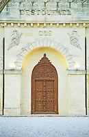 Ornate carved wooden door. Faux oriental style. Chateau Cos d'Estournel, Saint Estephe. Medoc, Bordeaux, France