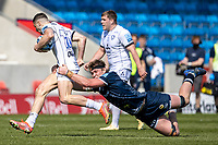 17th April 2021; AJ Bell Stadium, Salford, Lancashire, England; English Premiership Rugby, Sale Sharks versus Gloucester; Cobus Weise of Sale Sharks tackles Jonny May of Gloucester Rugby