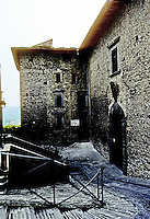 Italy: Gubbio--Steps of Duomo, Wall of Ducal Palace opposite. Nicely symbolizing church-state relationship. Ducal Palace begun in 1476 for Federigo. Photo '83.