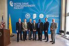June 26, 2014; (names left-right) Richard Stanley, Mark Neal, Paul Chodak, Robert Bernhard, Oliver Davis, Jeff Smoke and Rollie Helmling, pose for a photo after the official announcement that the University of Norte Dame and General Electric Co. will partner in a $36 million turbine research and test facility in South Bend, Indiana. The announcement was held at the South Bend County-City building. Photo by Barbara Johnston/University of Notre Dame