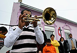 The church band plays a traditional Roma song outside the United Methodist Roma congregation in Jabuka, Serbia..