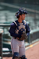 GCL Braves catcher Javier Valdes (11) during a Gulf Coast League game against the GCL Orioles on August 5, 2019 at Ed Smith Stadium in Sarasota, Florida.  GCL Orioles defeated the GCL Braves 4-3 in the second game of a doubleheader.  (Mike Janes/Four Seam Images)