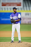Binghamton Rumble Ponies relief pitcher Scarlyn Reyes (45) gets ready to deliver a pitch during a game against the Akron RubberDucks on May 12, 2017 at NYSEG Stadium in Binghamton, New York.  Akron defeated Binghamton 5-1.  (Mike Janes/Four Seam Images)