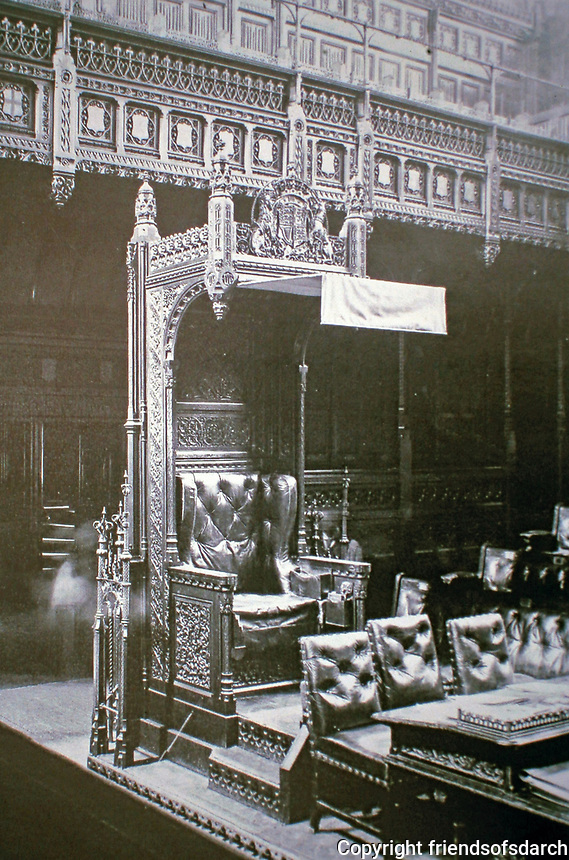 Chair in House of Commons, Palace of Westminster. Designed by A.W. Pugin. Gothic design.