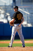 Bethune-Cookman Wildcats starting pitcher Alex Seibold (40) looks in for the sign during a game against the Wisconsin-Milwaukee Panthers on February 26, 2016 at Chain of Lakes Stadium in Winter Haven, Florida.  Wisconsin-Milwaukee defeated Bethune-Cookman 11-0.  (Mike Janes/Four Seam Images)