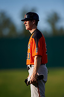 AZL Giants Orange hitting coach Bill Horton (33) coaches first base during an Arizona League game against the AZL Cubs 1 on July 10, 2019 at Sloan Park in Mesa, Arizona. The AZL Giants Orange defeated the AZL Cubs 1 13-8. (Zachary Lucy/Four Seam Images)