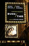 "Theatre Marquee: David Furr, Brandon Uranowitz, Keri Russell, Adam Driver starring in Landford Wilson's ""Burn This""  at Hudson Theatre on April 15, 2019 in New York City."