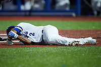 Edwin Arroyo (2) of the High Point Rockers lies on the ground after having been hot by a pitch during the game against the Lexington Legends at Truist Point on June 16, 2021, in High Point, North Carolina. The Legends defeated the Rockers 2-1. (Brian Westerholt/Four Seam Images)