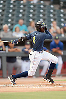 Shortstop Ronny Mauricio (2) of the Columbia Fireflies bats bats in a game against the Rome Braves on Tuesday, June 4, 2019, at Segra Park in Columbia, South Carolina. Columbia won, 3-2. (Tom Priddy/Four Seam Images)