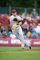 Richmond Flying Squirrels third baseman Ryder Jones (8) throws to first during a game against the Erie SeaWolves on August 22, 2016 at Jerry Uht Park in Erie, Pennsylvania.  Erie defeated Richmond 4-2.  (Mike Janes/Four Seam Images)