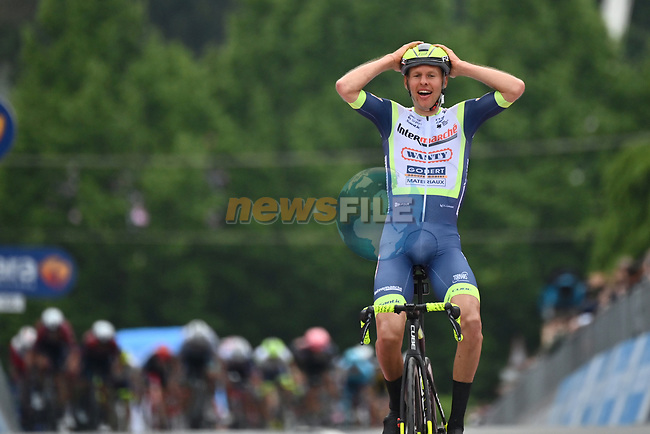Taco Van Der Hoorn (NED) Intermarche-Wanty-Gobert-Materiaux from the breakaway wins Stage 3 of the 2021 Giro d'Italia, running 190km from Biella to Canale, Italy. 10th May 2021.<br /> Picture: LaPresse/Massimo Paolone   Cyclefile<br /> <br /> All photos usage must carry mandatory copyright credit (© Cyclefile   LaPresse/Massimo Paolone)