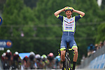 Taco Van Der Hoorn (NED) Intermarche-Wanty-Gobert-Materiaux from the breakaway wins Stage 3 of the 2021 Giro d'Italia, running 190km from Biella to Canale, Italy. 10th May 2021.<br /> Picture: LaPresse/Massimo Paolone | Cyclefile<br /> <br /> All photos usage must carry mandatory copyright credit (© Cyclefile | LaPresse/Massimo Paolone)