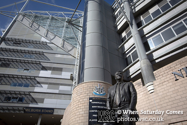 Newcastle United 1 Tottenham Hotspur 3 19/04/2015. St James Park, Premier League. The statue to former manager Sir Bobby Robson, situated outside the Milburn Stand of the stadium before Newcastle United host Tottenham Hotspurs in an English Premier League match at St. James' Park. The match was boycotted by a section of the home support critical of the role of owner Mike Ashley and sponsorship by a payday loan company. The match was won by Spurs by 3-1, watched by 47,427, the lowest league gate of the season at the stadium. Photo by Colin McPherson.