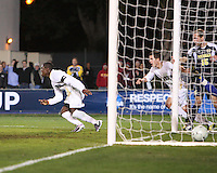 Kofi Sarkodie #8 of the University of Akron after scoring the winning goal during the 2010 College Cup semi-final against the University of Michigan at Harder Stadium, on December 10 2010, in Santa Barbara, California. Akron won 2-1.