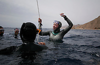 "Freediving competition ""Bizzy Blue Hole"" in Dahab, Sinai, Egypt.  Elisabeth Kristoffersen 65 meter CWF"