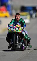 Oct. 29, 2011; Las Vegas, NV, USA: NHRA pro stock motorcycle rider Shawn Gann during qualifying for the Big O Tires Nationals at The Strip at Las Vegas Motor Speedway. Mandatory Credit: Mark J. Rebilas-