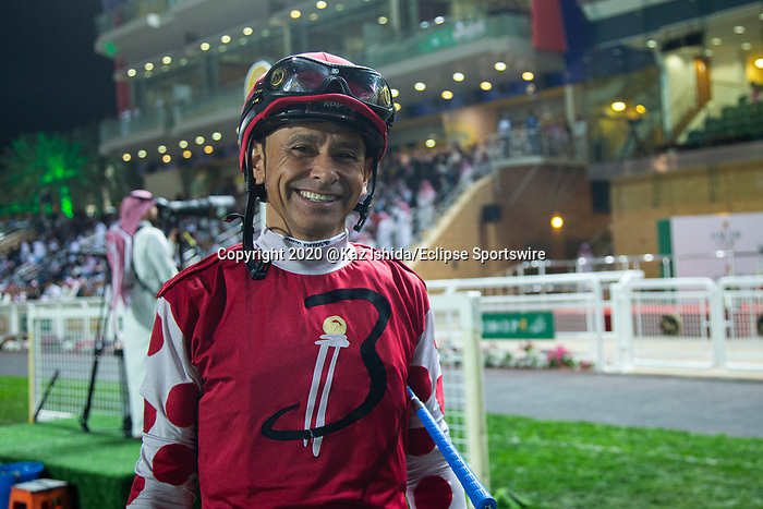 RIYADH,SAUDI ARABIA-FEB 29:Mike Smith, the jockey for Midnight Bisou ,before the Saudi Cup at King Abdulaziz Racetrack on February 29,2020 in Riyadh,Saudi Arabia. Kaz Ishida/Eclipse Sportswire/CSM
