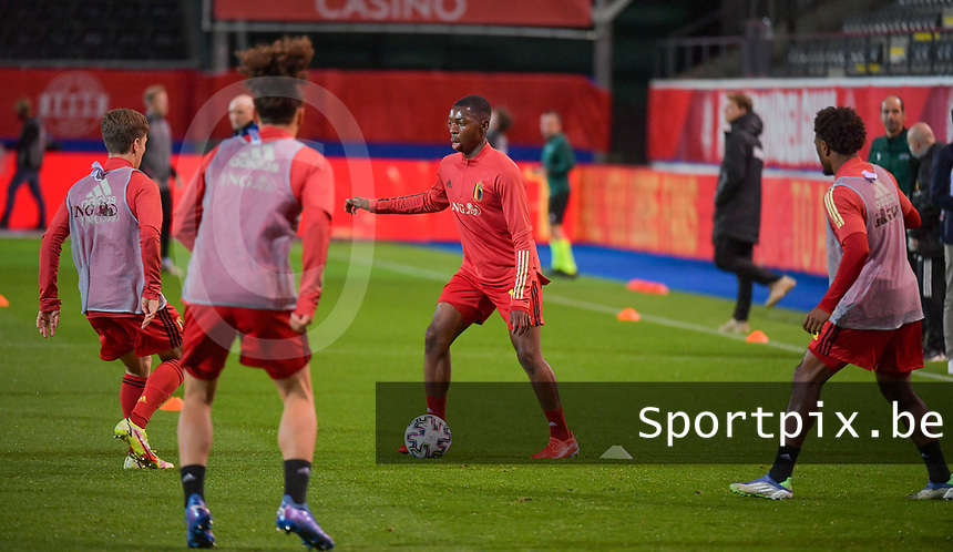 Marco Kana (16) of Belgium  pictured the warm up before a soccer game between the national teams Under21 Youth teams of Belgium and Denmark on the fourth matday in group I for the qualification for the Under 21 EURO 2023 , on tuesday 12 th of october 2021  in Leuven , Belgium . PHOTO SPORTPIX   STIJN AUDOOREN