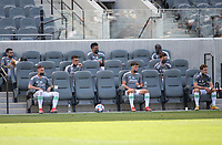 LOS ANGELES, CA - APRIL 17: Austin FC bench during a game between Austin FC and Los Angeles FC at Banc of California Stadium on April 17, 2021 in Los Angeles, California.