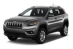 2019 Jeep Cherokee Latitude Plus 4X4 5 Door SUV angular front stock photos of front three quarter view