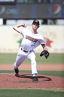 John Swanda (12) of the Inland Empire 66ers pitches against the Fresno Grizzlies at San Manuel Stadium on May 25, 2021 in San Bernardino, California. (Larry Goren/Four Seam Images)