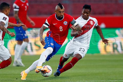 13th November 2020; National Stadium of Santiago, Santiago, Chile; World Cup 2020 Football qualification, Chile versus Peru;  Arturo Vidal of Chile goes past Pedro Aquino of Peru
