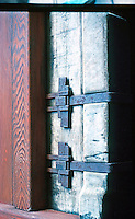 Greene & Greene: Gamble House. Detail of metal straps.  Photo '77.