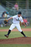Mooresville Spinners starting pitcher Jake Landis (28) (Pfeiffer University) in action against the Statesville Owls at Moor Park on June 14, 2020 in Mooresville, NC.  The Owls defeated the Spinners 8-7 in 10 innings. (Brian Westerholt/Four Seam Images)