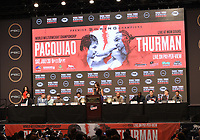 LAS VEGAS - JULY 17: (L-R) Luis Nery, Sergey Lipinets, Omar Figueroa, Manny Pacquiao, Fox Sports' Heidi Androl, Keith Thurman, Yordenis Ugas, John Molina Jr., and Juan Carlos Payano at the final press conference for the PBC on Fox Sports Pay-Per-View at the MGM Grand on July 17, 2019 in Las Vegas, Nevada. (Photo by Frank Micelotta/Fox Sports/PictureGroup)