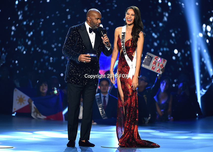 BANGKOK, THAILAND - DECEMBER 17:  Steve Harvey and Miss Philippines Catriona Gray onstage on the 2018 MISS UNIVERSE competition at the Impact Arena in Bangkok, Thailand on December 17, 2018. (Photo by Frank Micelotta/FOX/PictureGroup)