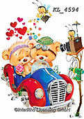 Interlitho-Fabrizio, Comics, CUTE ANIMALS, LUSTIGE TIERE, ANIMALITOS DIVERTIDOS, paintings+++++,2 bears, car,KL4594,#ac#, EVERYDAY ,sticker,stickers