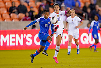 HOUSTON, TX - JANUARY 28: Carlie Lloyd #10 of the United States battles with Emeline Charles #13 of Haiti for a ball during a game between Haiti and USWNT at BBVA Stadium on January 28, 2020 in Houston, Texas.