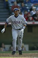 Alex Rodriguez of the Texas Rangers during a 2003 season MLB game at Angel Stadium in Anaheim, California. (Larry Goren/Four Seam Images)