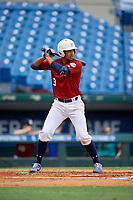 Jordan Lawlar (9) of Jesuit College Prep High School in Irving, TX during the Perfect Game National Showcase at Hoover Metropolitan Stadium on June 17, 2020 in Hoover, Alabama. (Mike Janes/Four Seam Images)