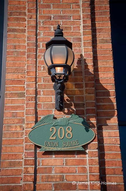 Building name plate, Union Square, Hickory,NC, USA