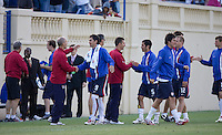 The USA team celebrates their victory. The USA defeated China, 4-1, in an international friendly at Spartan Stadium, San Jose, CA on June 2, 2007.