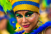 A Colombian dancer of the La Yesquita neighborhood takes part in the San Pacho festival in Quibdó, Colombia, 30 September 2019. Every year at the turn of September and October, the capital of the Pacific region of Chocó holds the celebrations in honor of Saint Francis of Assisi (locally named as San Pacho), recognized as Intangible Cultural Heritage by UNESCO. Each day carnival groups, wearing bright colorful costumes and representing each neighborhood, dance throughout the city, supported by brass bands playing live music. The festival culminates in a traditional boat ride on the Atrato River, followed by massive religious processions, which accent the pillars of Afro-Colombian's identity – the Catholic devotion grown from African roots.