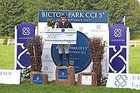 5th September 2021; Bicton Park, East Budleigh Salterton, Budleigh Salterton, United Kingdom: Bicton CCI 5* Equestrian Event; Gemma Tattersall riding Chilli Knight celebrates with her winning cheque after winning the event