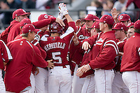 Whit Merrifield (5) of the South Carolina Gamecocks is greeted by his teammates at home plate following his first collegiate home run versus the East Carolina Pirates at Sarge Frye Field in Columbia, SC, Sunday, February 24, 2008.