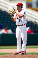 Nick Greenwood (32) of the Springfield Cardinals on the mound during a game against the Midland RockHounds on April 19, 2011 at Hammons Field in Springfield, Missouri.  Photo By David Welker/Four Seam Images