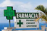Spain, Canary Islands, La Palma, chemist, drugstore, sign
