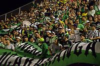 ENVIGADO -COLOMBIA, 25-03-2018: Hinchas del Nacional animan a su equipo durante el encuentro entre Envigado FC e Atletico Nacional por la fecha 10 de la Liga Águila I 2018 realizado en el Polideportivo Sur de la ciudad de Envigado. / Fans of Nacional cheer for their team during the match between Envigado FC and Atletico Nacional for the date 10 of the Aguila League I 2018 played at Polideportivo Sur in Envigado city.  Photo: VizzorImage/ León Monsalve / Cont