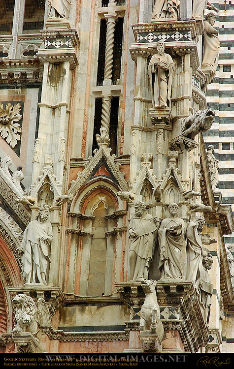 Gothic Statuary, 13th c. Facade Right Side, Giovanni Pisano, Cathedral of Siena, Santa Maria Assunta, Siena, Italy