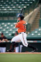 Baltimore Orioles catcher Ben Breazeale (79) at bat during an Instructional League game against the Pittsburgh Pirates on September 27, 2017 at Ed Smith Stadium in Sarasota, Florida.  (Mike Janes/Four Seam Images)