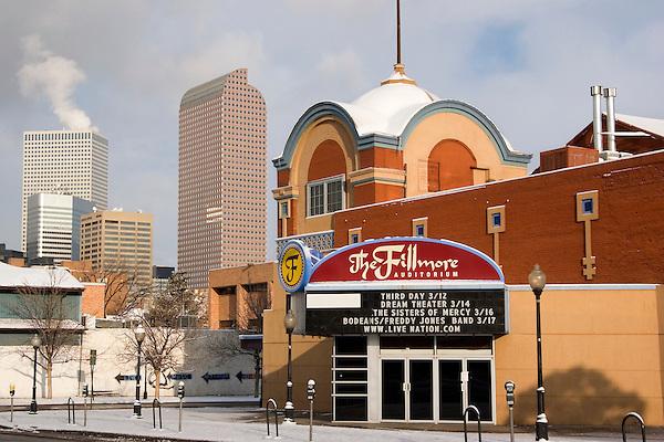 Fillmore Auditorium in winter, Denver, Colorado, USA John offers private photo tours of Denver, Boulder and Rocky Mountain National Park. .  John offers private photo tours in Denver, Boulder and throughout Colorado. Year-round.