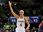 Feb 26, 2013; Skylar Diggins (4) gestures to the crowd in the second half against Syracuse. Notre Dame won 79-68. ..Photo by Matt Cashore/University of Notre Dame