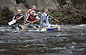 26/12/15<br /> <br /> The first raft takes on the weir.<br /> <br /> Dozens of competitors are tossed into the Derwent as the extremely swollen river launches rafts, uncontrollably, down a weir along the route of the Boxing Day Race at Matlock Bath in Derbyshire.<br /> <br /> <br /> All Rights Reserved: F Stop Press Ltd. +44(0)1335 418365   www.fstoppress.com.